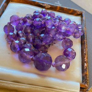 Gorgeous, Amethyst faceted bead necklace on 9ct gold clasp, Circa 1930