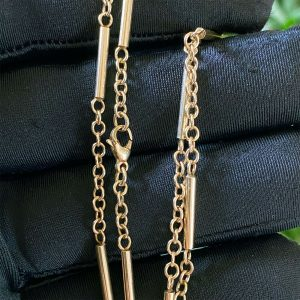 """Vintage 9ct, 9k 375 Yellow Gold, Tube & chain link necklace, choker 16.5"""" / 42cm"""