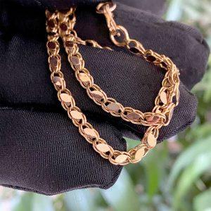 """Vintage 14ct, 14k, 750 Rose Gold fancy link chain, length 18.5"""" / 47cm"""