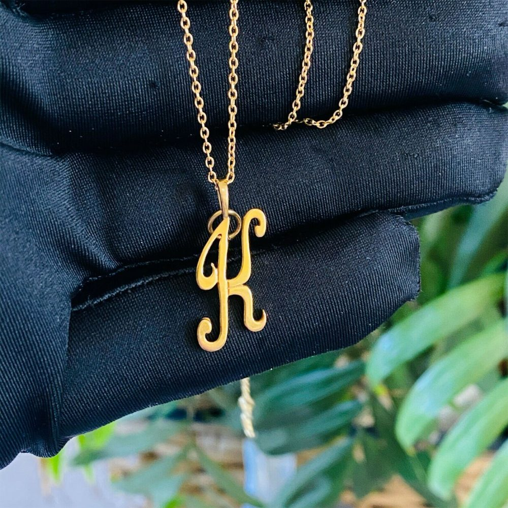 Vintage 9ct, 9k, 375 yellow gold 'K' initial pendant, charm, fully hallmarked