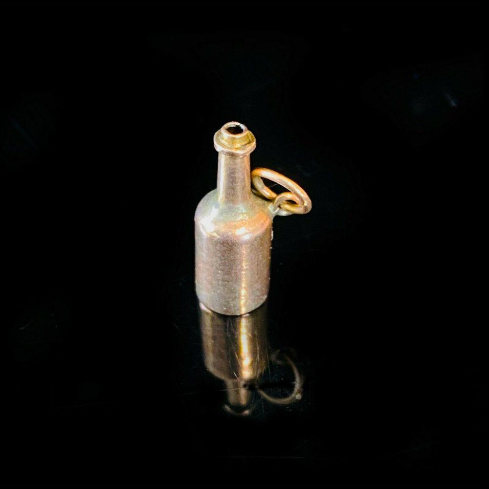 Antique, 9ct, 9k, 375 yellow gold bottle pendant charm, 17 x 8.5mm, Circa 1920