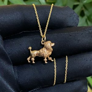 Vintage 9ct, 9k, 375 yellow gold poodle, dog pendant, charm, Dated 1988