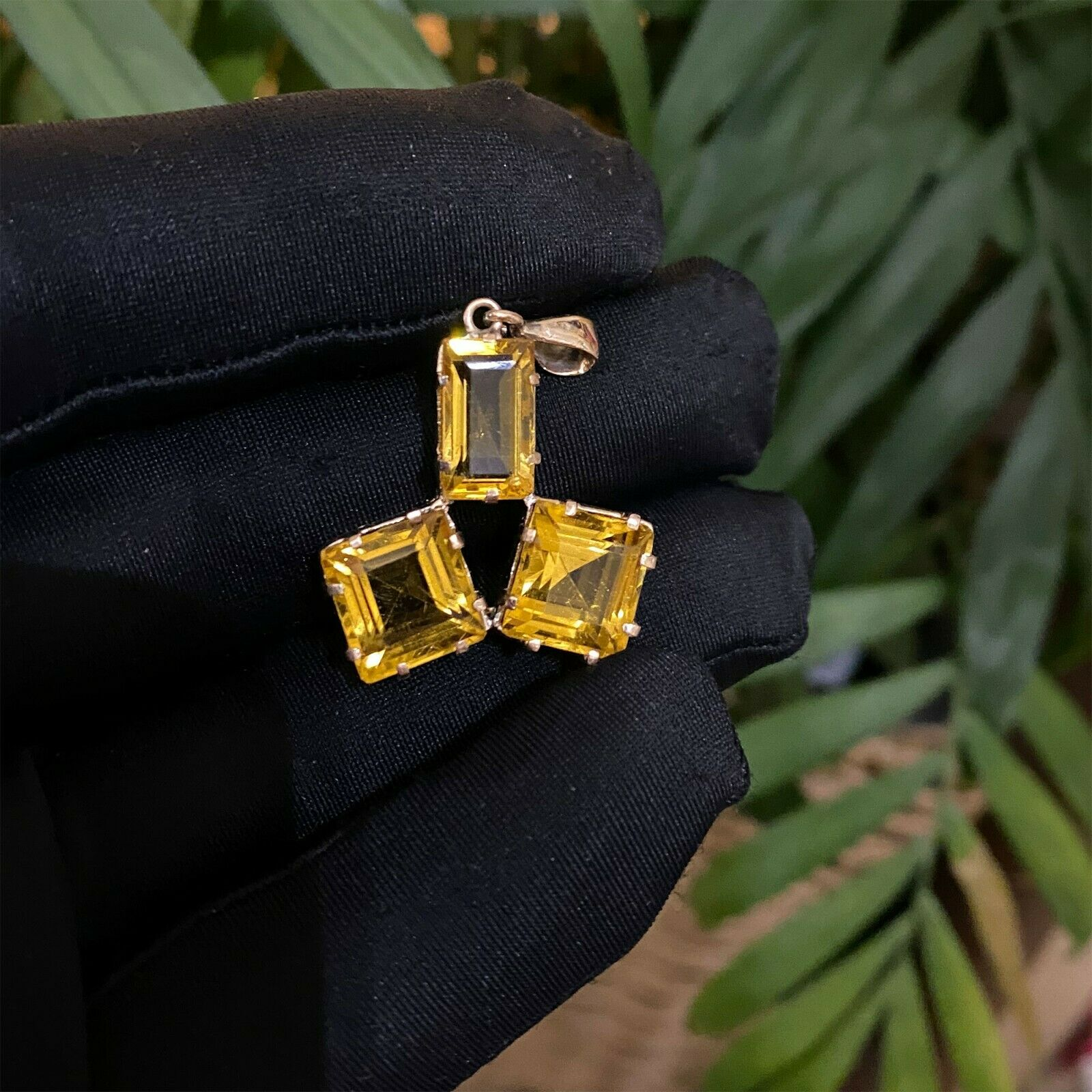 Modernist, Vintage 14ct, 14k, 585 Rose Gold, triple Citrine pendant, Circa 1970
