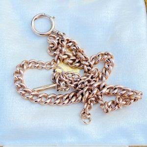 Antique, 9ct, 9k, 375 Rose Gold Albert Pocket Watch Chain, necklace, hallmarked