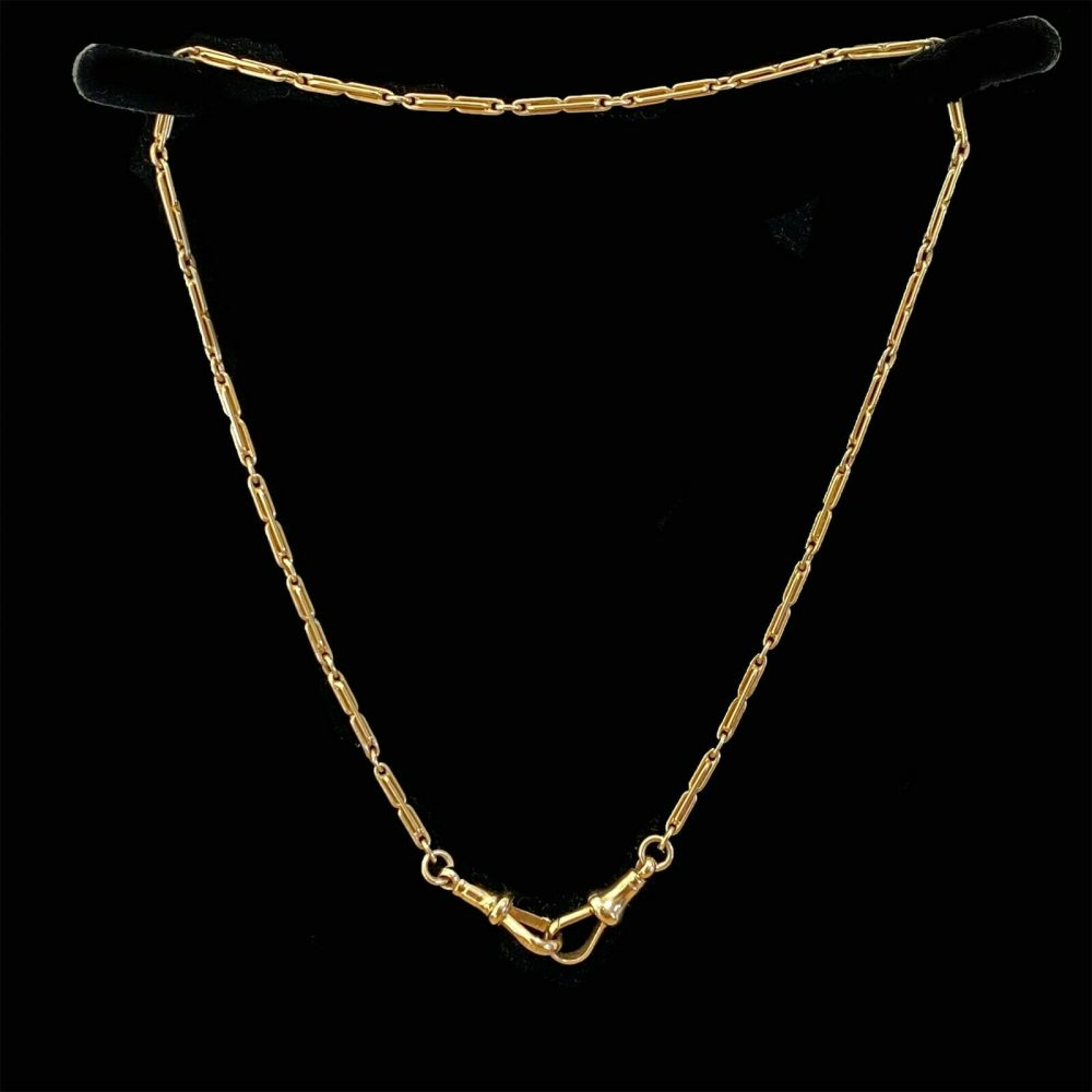 Edwardian 9ct, 9k, 375 Gold, trombone link chain on double dog clip fittings