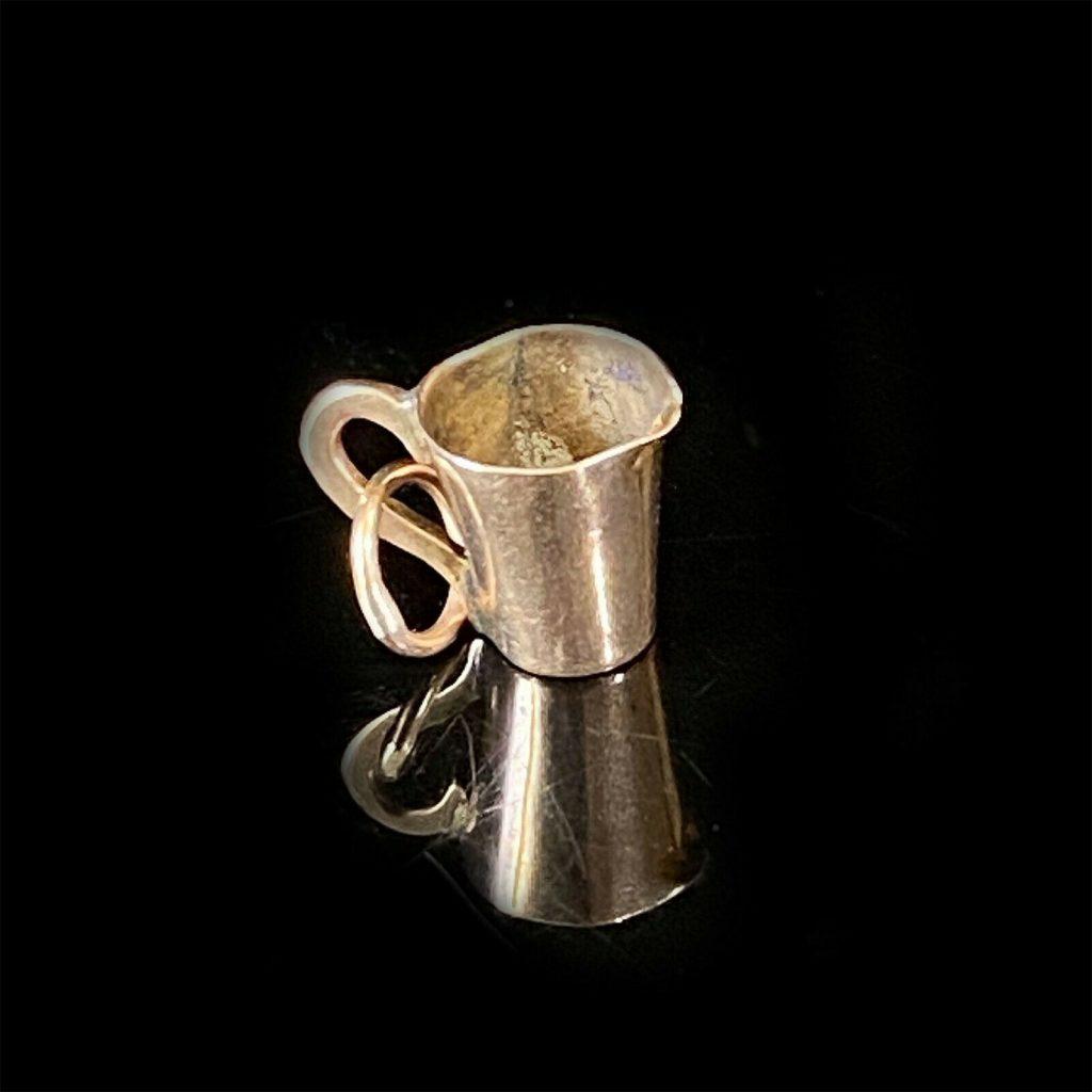 Vintage 9ct, 9k, 375 yellow gold tankard charm, pendant 10.5 x 8mm