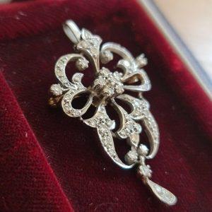Art Deco Platinum PT950 & Gold, Diamond pendant / brooch, Circa 1935