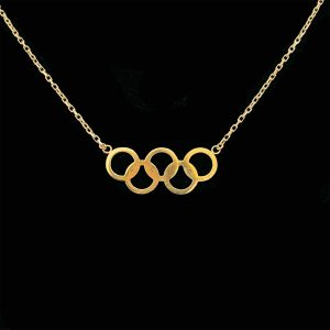 """Olympic Rings 9ct, 9k, 375 gold, necklace, Length 19"""" / 45 cm."""