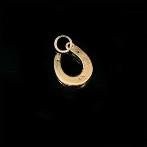 Antique 9ct, 9k, 375 rose gold, Lucky horseshoe, equestrian, pendant charm