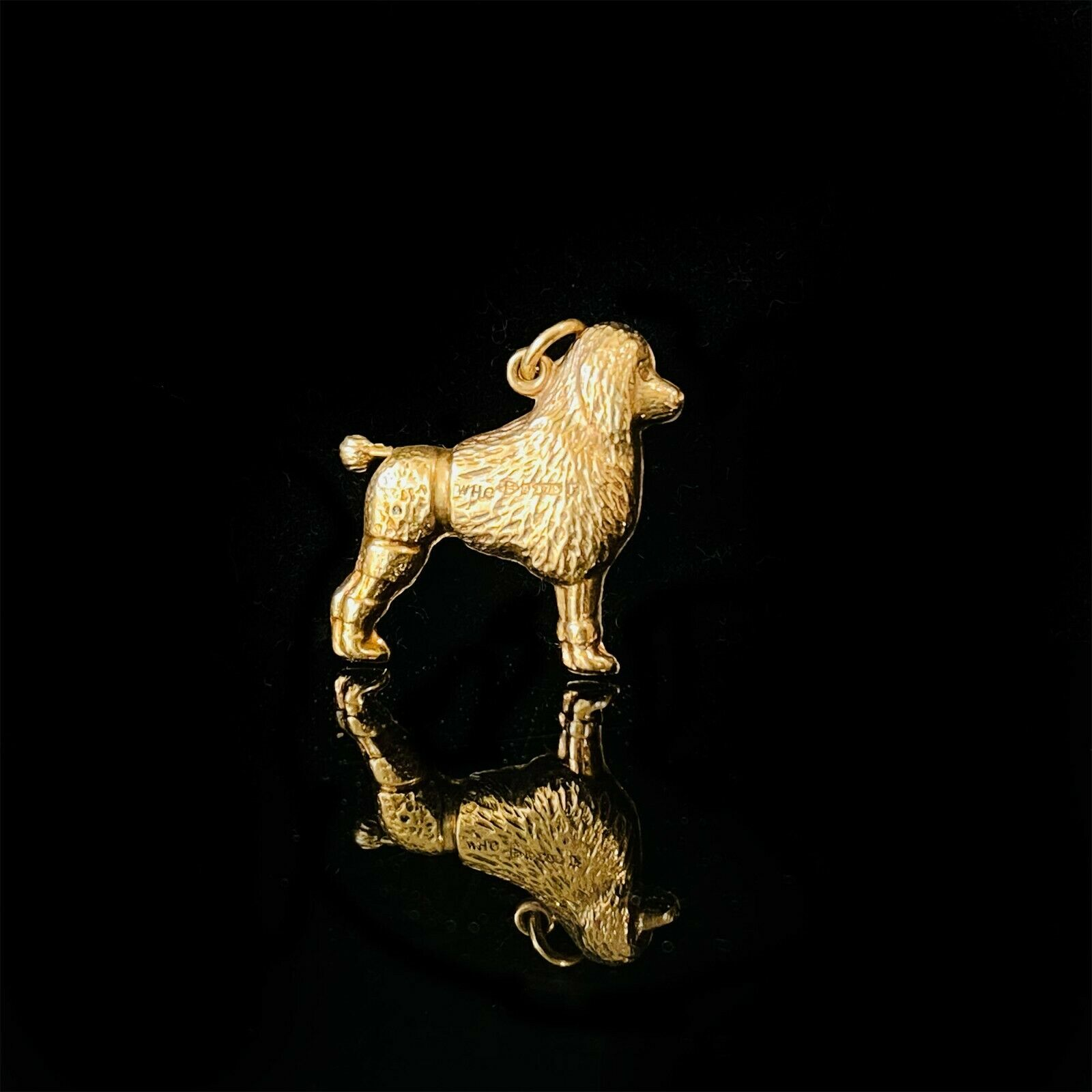 Vintage 9ct, 9k, 375 yellow gold poodle, dog pendant, charm, Chester 1956