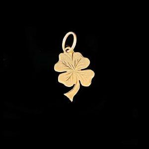 Vintage 9ct, 9k, 375 rose gold, lucky clover, shamrock charm, pendant