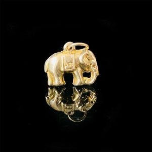 Vintage 9ct, 9k, 375 yellow gold Elephant charm, 14.5 x 12mm