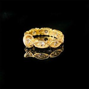 Vintage 9ct, 9k, 375 yellow gold & CZ stone, eternity ring charm, Dtd 1963