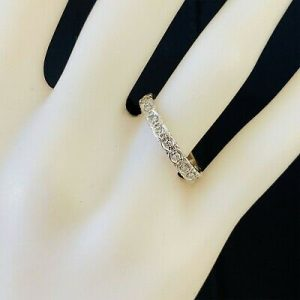 Art Deco, 18ct, 18k, 750 white gold, Diamond 0.21ct full eternity Ring, Size N