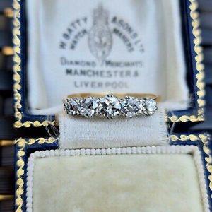 Edwardian 18ct, 18k Gold & Platinum Diamond 1.12ct five Stone engagement ring
