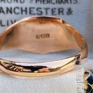 Antique 9ct, 9k, 375 rose gold shield, Signet ring, hallmarked Chester 1915