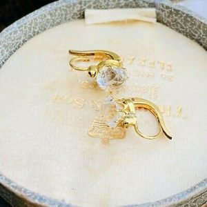 French 18ct 18k Gold, Rock Crystal Dormeuse earrings with 'Eagles head' hallmark