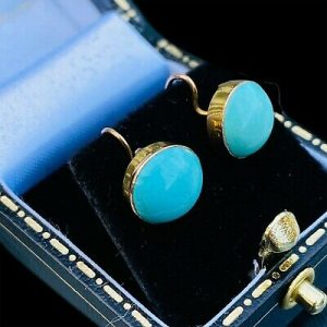 Art Deco 9ct, 9k, 375 Gold Turquoise cabachon earrings 9mm with hook fittings