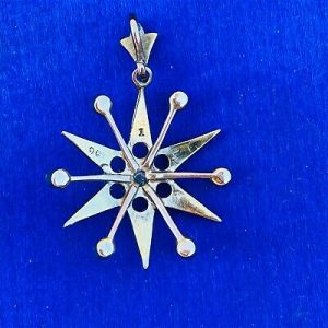 Exquisite, Victorian 9ct, 9k, 375 Gold Seed Pearl Star pendant, Circa 1890
