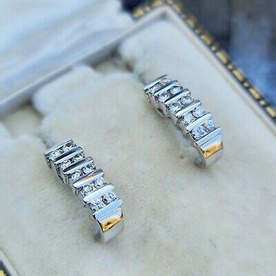 Modern pair of 18ct, 18k, 750 white Gold & Diamond 0.60ct, half hoop earrings