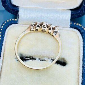 Edwardian 18ct, 18k, 750 Gold & Platinum Diamond 5-Stone engagement ring, C1901