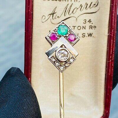 RESERVED - Edwardian 15ct, 15k, 625 Gold Diamond, Emerald & Ruby geometric style, stick pin