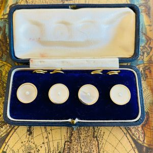 Art Deco, 9ct gold, mother of pearl & seed pearl dress, shirt studs, buttons
