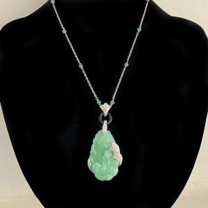 Art Deco style 18ct, 18k, 750 Gold Carved jade, black onyx & Diamond necklace