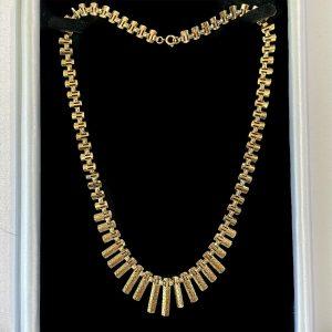"""Vintage 9ct 9k gold 'Cleopatra' fringe, graduated necklace, length 17.5"""" / 45cm"""