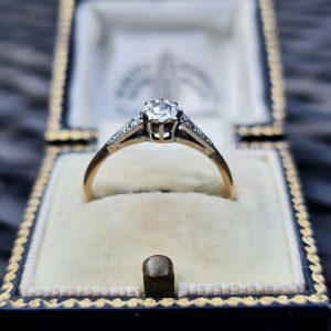 Art Deco 9ct, 9k Gold & Platinum, illusion-set Diamond Solitaire engagement ring
