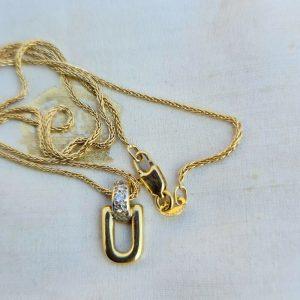 "Fine 18ct, 18k, 750 gold, Diamond loop pendant and chain, Length 18"" / 46cm"