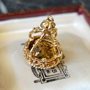 Vintage 9ct, 9k, 375 Gold Smoky Quartz pocket watch, Fob, pendant, Circa 1980