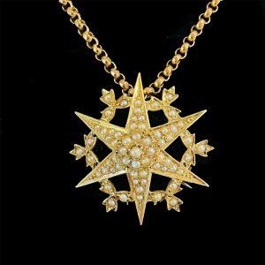 Victorian 15ct, 15k, 625 Gold Seed Pearl, Star brooch, pendant, Circa 1880