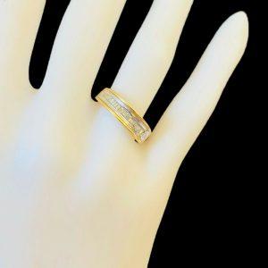 Modern 18ct, 18k, 750 Gold Diamond Baguette eternity, stacker, anniversary ring