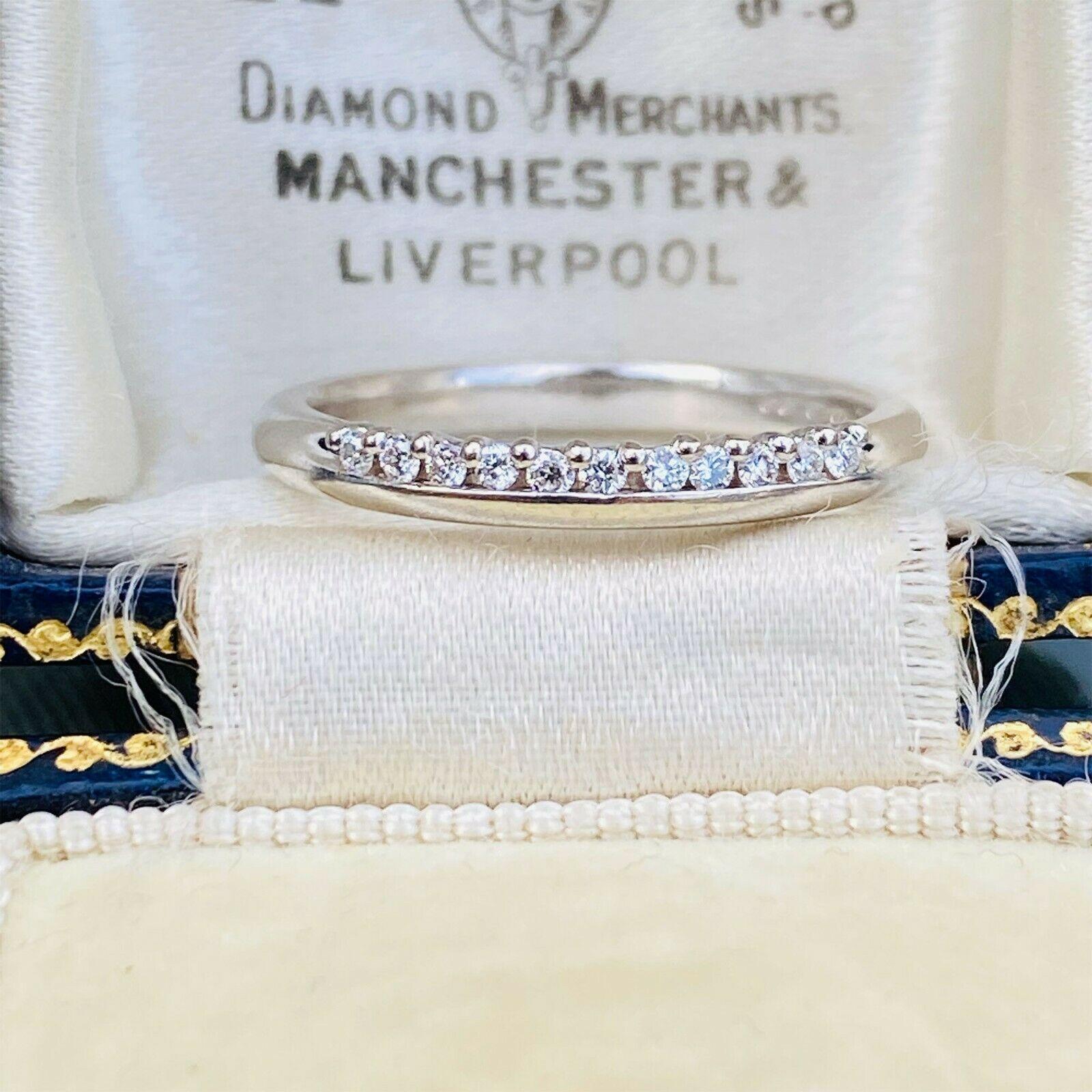 Stunning 18ct/18k 750 white gold, Diamond 0.11ct half eternity, anniversary ring
