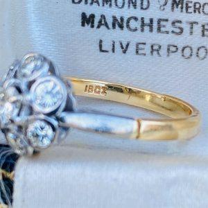 Art deco, 18ct, 18k, 750 Gold Diamond (0.62ct), Daisy, cluster engagement ring