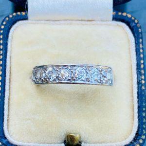 Art Deco, Platinum Diamond half eternity, anniversary, wedding, stacking ring