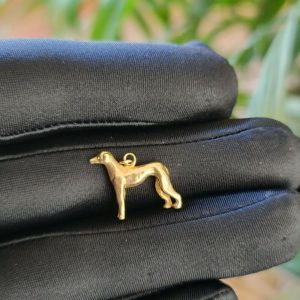 Vintage 9ct, 9k, 375 yellow gold, greyhound, dog pendant, charm, London 1985