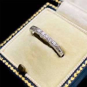 Antique, Platinum Diamond 0.40 to 0.35ct half eternity Ring, Circa 1920