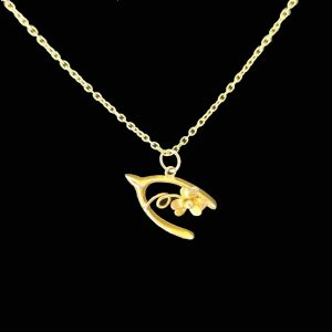 Vintage Lucky 9ct, 9k, 375 yellow gold wishbone and flower charm, pendant C1930