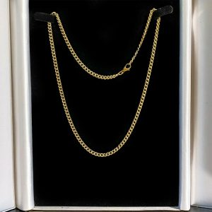 """Vintage 9ct, 9k, 375 yellow Gold, solid curb link chain, length 18"""" / 46cm, 15g"""