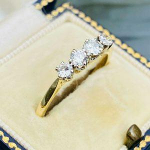 Vintage, 18ct/18k, 750 Gold & Platinum four stone diamond 0.75ct engagement Ring
