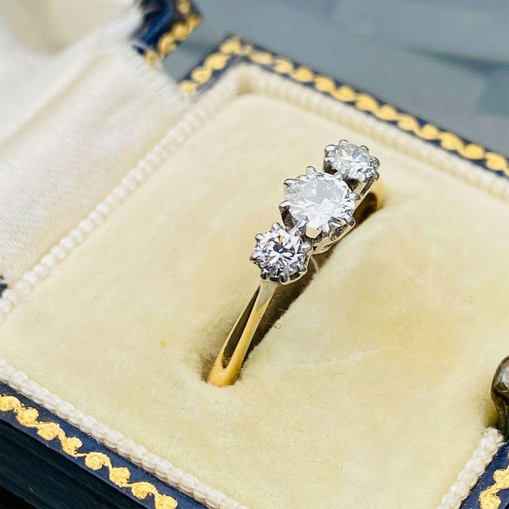 RESERVED - Art Deco, 18ct, 18k, 750 Gold & Platinum Diamond, three stone engagement ring
