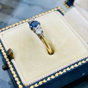 Art Deco, 18ct, 18k, 750 Gold Sapphire & Diamond trilogy engagement Ring, C1935