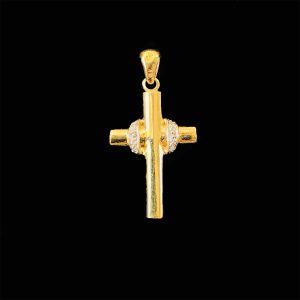 Pretty 9ct, 9k, 375 Gold diamond cross pendant, 30x15mm