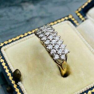 Vintage 18ct, 18k, 750 Gold Diamond 0.70ct, three row cluster Ring, London 1988