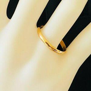 Retro 22ct, 22k, 980 solid yellow gold D-shaped wedding ring, Birmingham 1948