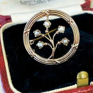 Art Nouveau 9ct, 9k, 375 Rose Gold, Pearl 'tree of life' brooch, Circa 1905