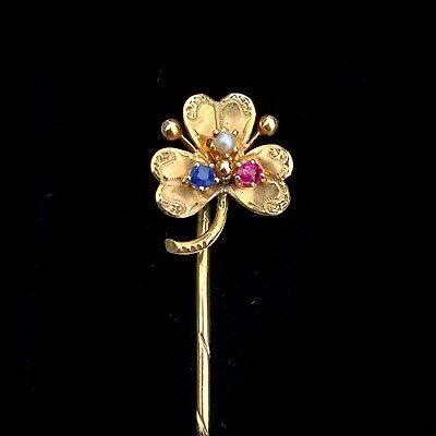 Art Nouveau 14ct, 14k, 585 Gold, Pearl, Sapphire & Ruby clover/shamrock stickpin