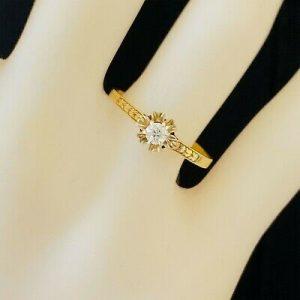 Art Deco 14ct, 14k, 585 Gold, old European cut Diamond solitaire engagement ring